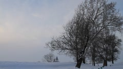 Beautiful winter landscape of white birch trees in the Kremlin of Suzdal at dusk Stock Footage