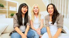 Girlfriends Using Internet Webchat Stock Footage