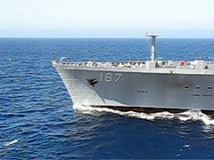 POV -Aircraft carrier John C. Stennis comes alongside ship Henry J. Kaiser. Stock Footage