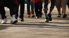 Stock Video Footage of Groups of Kids walking forward.