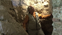 Italy Rieti La Foresta cave with man Stock Footage
