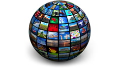 Rotating picture globe - stock footage