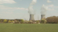 Nuclear power plant in geman landscape Stock Footage