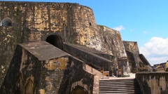 Puerto Rico - El Morro Fortress - People, Ramp and Stairway to Main Level 3 Stock Footage