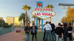 HD Welcome to Las Vegas sign from golden hour to dark timelapse Stock Footage