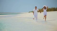 Happy Caucasian Couple Enjoying Dream Vacation Stock Footage