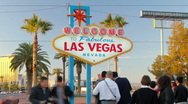 HD pan left Welcome to Las Vegas sign from golden hour to dark timelapse Stock Footage
