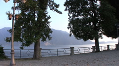 Italy Walkway by Lago Maggiore Stock Footage