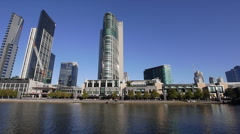 Crown Casino PROFILE 01: shot from opposite the Yarra River / Melbourne Aquarium Stock Footage