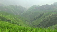 Rice terraces in Chinese Guangxi province Stock Footage
