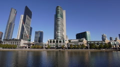 Crown Casino PROFILE 02: shot from opposite the Yarra River / Melbourne Aquarium Stock Footage