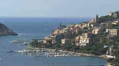 Buildings and harbor in Portovenere  Stock Footage
