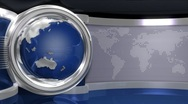 Stock Video Footage of Blue Virtual News Studio 3 with Globe Animation closeup1