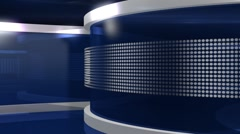 Blue Virtual News Studio 3 closeup2 Stock Footage