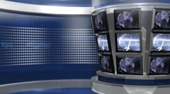 Blue Virtual News Studio 3 closeup4 Stock Footage