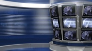 Stock Video Footage of Blue Virtual News Studio 3 closeup4