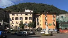 Italy Liguria Corvara with statue Stock Footage
