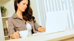 Caucasian Female at Home with Laptop & Coffee - stock footage