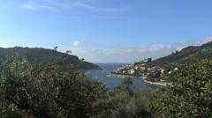 Italy Cinque Terra Portovenere in distance Stock Footage
