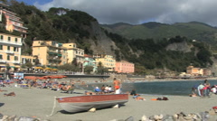 Italy Cinque Terra pans to breakwater Stock Footage