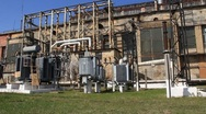 Heat electropower station. Transformers (outdoor switchgear) Stock Footage