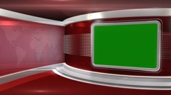 Red Virtual News Studio 3 - Chroma Key3 - stock footage