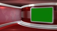 Stock Video Footage of Red Virtual News Studio 3 - Chroma Key3