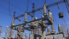 Heat electropower station. Outdoor switchgear Stock Footage