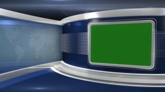 Blue Virtual News Studio - Chromakey2 - stock footage
