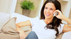Female Relaxing with Cell Phone Stock Footage