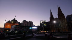 Federation Square facing St Paul Cathedral Stock Footage