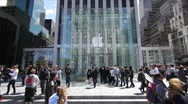 Apple Store 5th Ave. crwod people walking time lapse fast Stock Footage