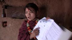 Nepal: Woman Teaches Literacy Stock Footage