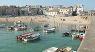 St Ives harbour beach boats Stock Footage