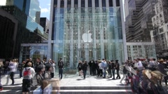 Apple Store 5th Ave.crwod people walking time lapse fast 1080i 60i - stock footage