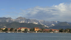 Italy Magra estuary houses and mountains above Stock Footage
