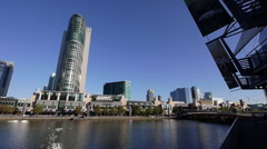 Crown Casino shot from opposite the Yarra River / Melbourne Aquarium 01 Stock Footage
