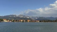 Italy Magra Estuary zooms to mountains Stock Footage