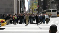 Crowd Walking street people intersection nyc 5th avenue new york 720p 30P - stock footage