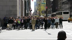 Crowd crossing street walk nyc slow motion intersection Stock Footage
