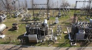 Stock Video Footage of Heat electropower station. Transformers (outdoor switchgear)