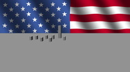 Stock Video Footage of cityscape with American flag animation