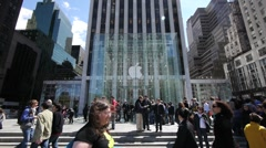 Apple Store 5th Ave. crwod people walking Slow Motion 720P 24P Stock Footage