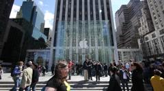 Apple Store 5th Ave. crwod people walking Slow Motion 720P 24P - stock footage