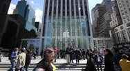Stock Video Footage of Apple Store 5th Ave. crwod people walking Slow Motion 720P 24P