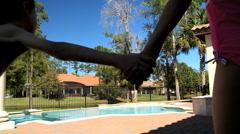Caucasian Siblings & Their Swimming Pool Stock Footage