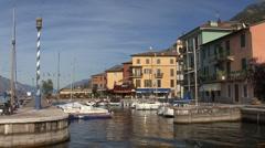 Italy Castelletto on Lago di Garda with harbor Stock Footage