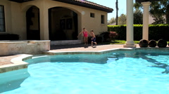 Kids Taking the Plunge Stock Footage
