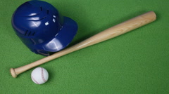 Baseball, bat and helmet Stock Footage