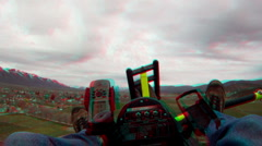 Ultralight fly towards town 3D 002 Stock Footage